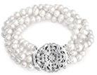 Bling Jewelry Quattro Strand perla d'acqua dolce nuziale del braccialetto Grande Gatsby Inspired