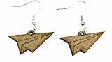 Carta spingerete orecchini gancio Miniblings Origami aereo inciso in legno