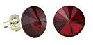 Eve S jewelry–Orecchini da donna placcati argento rodiato rosso taglio rotondo Swarovski Elements Siam per 0504036013