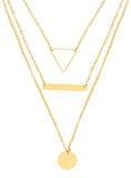 Front Row -  Collana in colore oro con motivo geometrico, lunghezza 46-48cm