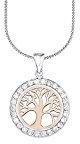 Amor Collana per donna-con ciondolo, motivo: albero della vita, bicolor, argento 925 placcato oro con zirconi rosa 45 cm - 511100