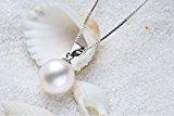 Wonvin Collana da donna con ciondolo con perla d'acqua dolce, 10 mm, colore: Bianco, con catenina in argento 925