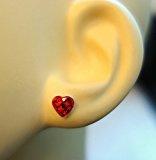 Katy Craig Love-Orecchini a perno in argento Sterling, a forma di cuore, con cristalli austriaci, colore: Rosso