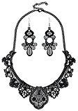 Idea regalo vintage Forever & Moment, bracciale o collana o orecchini per donna dal design di pizzo in filigrana di metallo.