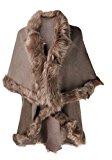 ZLYC da donna Cardigan a maglia fine con finta pelliccia strati Poncho Cape