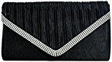 H&G Effetto satinato Ladies pieghe SILVYE POCHETTE di moda \ borsa da sera con strass