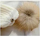 Q.KIM Ragazze Donne Inverno Pelliccia Cappelli Elegante Calda Cappello Grande Raccoon Pompon Beanie Berretto in maglia