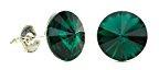 Eve S jewelry–Orecchini da donna placcati argento rodiato Smeraldo cristallo Swarovski Elements verde taglio rotondo–0504036031