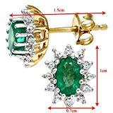 Naava Orecchini a Perno da Donna, Oro Giallo, Diamante/ Smeraldo