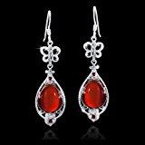 MATERIA 925 argento orecchini lunghi Fortune/Granat - orecchini da donna con farfalla pietre preziose rosso con scatola #SO-67
