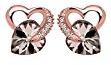Elli - Orecchini da donna, in argento Sterling 925 placcato oro rosa, con cristalli Swarovski a forma di cuore