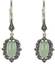 Esse Marcasite - Orecchini in argento Sterling stile Art Nouveau, giada e marcasite, 3,5cm