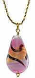 Amanti Venezia-Collana con forma a pera, colore: rosa e ciondolo in vetro di Murano, su catenina placcata in oro lunga 46 cm