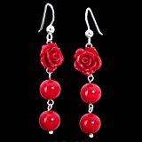 Materia gioielli orecchini con Rose in corallo rosso - orecchini in argento 925 con palline rosa Rossa Corallo #SO-113