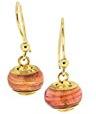 Kettenworld–Orecchini pendenti in vetro di Murano e Argento Sterling 925placcato oro giallo