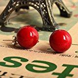 Lureme 12 millimetri Rosso Shell Perle tono argento classico della sfera rotonda orecchini per le donne 02001451