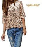 BYD da Donna Maglie Manica Lunga Bling Lustrino Magliette Manica a 3/4 Paillettes T Shirt Bluse Camicetta Camicia Tops