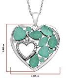 Jewelili Ciondolo a forma di cuore in argento Sterling, argento, colore: White, cod. 107818Z/STGSIL/N701/KA/SIL030RLO/STD