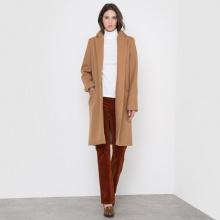 Cappotto lungo collo con risvolto 60% lana