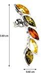 Noda - Orecchini con elementi a forma di foglia in ambra multicolore e argento sterling