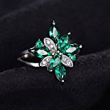 JewelryPalace Gioiello Donna Figura di Fiore 1.3ct Verde Artificiale Nano Russo Smeraldo Anello da Cocktail con Argento Sterlina 925
