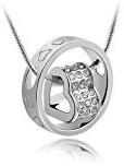 TechAffect-MARENJA in cristallo, placcato oro bianco e cristallo austriaco &-Collana con ciondolo a forma di cuore, lunghezza regolabile 45 cm/15,6 7-17.7in