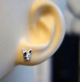 Katy Craig - Coppia di orecchini a bottone piccoli in argento Sterling a forma di cane