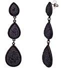 Lux accessori Nero Textured goccia orecchini pendenti