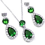 Colorfulday oro bianco da sposa a goccia, colore: verde cristallo pendente-Set di gioielli con orecchini e collana