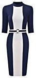 MIUSOL Vintage Donna Vestito Elegante Maniche 3/4 Contrasto Colore Vestiti