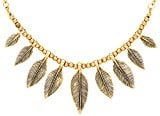 Front Row Gold Colour Graduated Leaf Charm Necklace of Length 41-49.5cm
