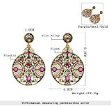 lureme® Annata boemo Antique Oro Filigree tondo Viola Corallo Beaded Dangle Stud Orecchini(02005183)