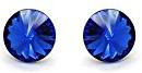 Big - Orecchini a perno in argento Sterling 925, per donna, colore: blu reale, con cristalli Swarovski®