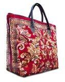 VOYAGER ELITE Blossom Red - Grande e largo di stile dell'annata tappeto Tote borsa con manici in pelle e cerniera