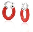 Bling Jewelry Piccolo Hoop Sterling Silver corallo rosso Orecchini