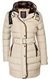 Alaska, Piumino invernale da donna, parka, Cappotto foderato, Giacca trapuntata, cappuccio con Collo di pelliccia, Lungo