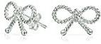Bling Jewelry 925 Sterling Silver torto Nastro Fiocco Orecchini Petite