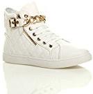 Donna tacco basso catena d'oro alto scarpe da ginnastica tenis sneakers taglia