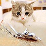findout Argento 925 3D simpatico gatto superficie opaca Lover / collana pendente liscia (f1581)