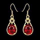Ujewelry-Orecchini pendenti placcati in oro con rubino, per orecchini, da donna
