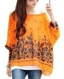 DJT - Maglia Manica 3/4 Bohemian Chiffon Blouse T Shirt Stile 15-Arancione
