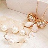 Lily gioielli orecchini tono oro farfalla perla collana lunga moda collana per le donne