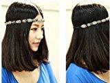 Handmade strass perline fascia elastica per capelli accessori per bambine da donna, argento