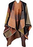 kormei donne elegante Plaid in maglia invernale sciarpe a quadri tartan Poncho Scialle Mantello