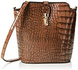 SwankySwansCharlotte Croc Patent Leather Shoulder Bag Tan - Borsa a tracolla donna , marrone (Brown (Tan)), Taglia unica