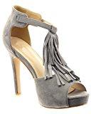 Sopily - Scarpe da Moda scarpe decollete cinturino alla caviglia donna frange Tacco Stiletto tacco alto 11 CM - soletta sintetico - Grigio