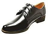 Angkorly - Scarpe da Moda scarpa derby donna lucide Tacco a blocco 2.5 CM - Nero