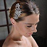Ever Faith Fiore di cristallo della scintilla del partito austriaco pettine dei capelli clip - silver-tone N01163-1