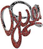 Guess Bracciale da donna, in acciaio inossidabile rodiato, con zirconi Script Hinged rosso UBB90804