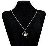 Lureme® oro antico placcato annata dello smalto collana pendente stile della macchina fotografica (01003399-2) nero